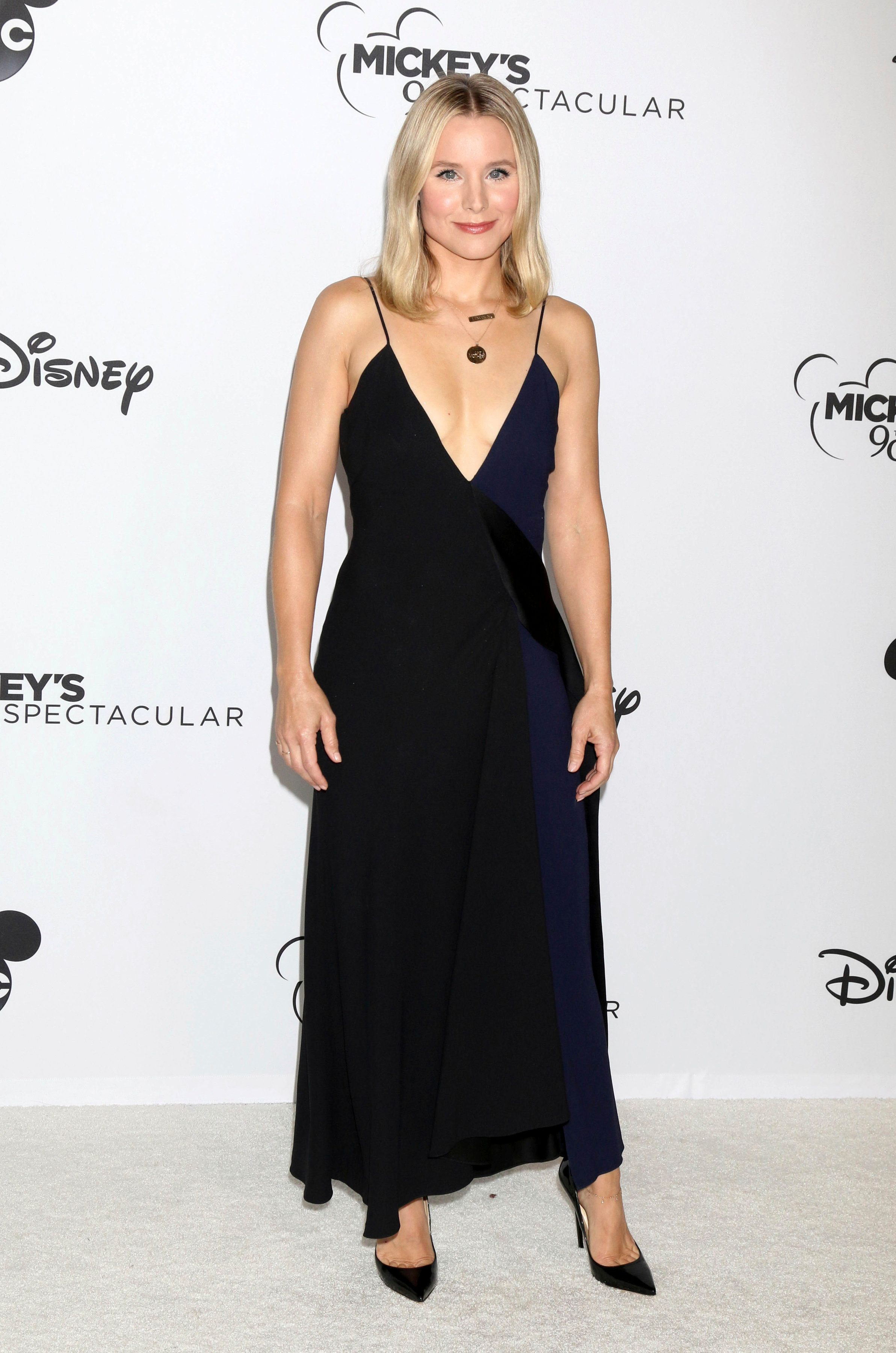 Kristen Bell arrives at Mickey's 90th Spectacular event.