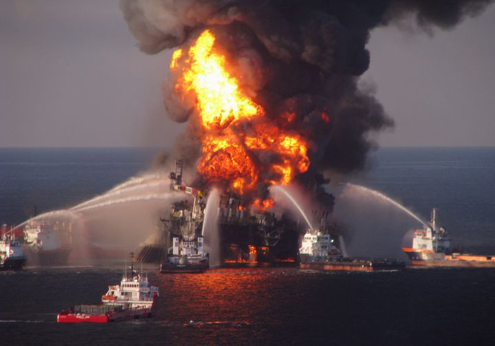 Fire boats spray water on the burning BP Deepwater Horizon offshore oil rig on April 21, 2010, in this photo provided by the U.S. Coast Guard. An explosion the day before killed 11 men, and the subsequent leak released millions of gallons of petroleum into the Gulf of Mexico.