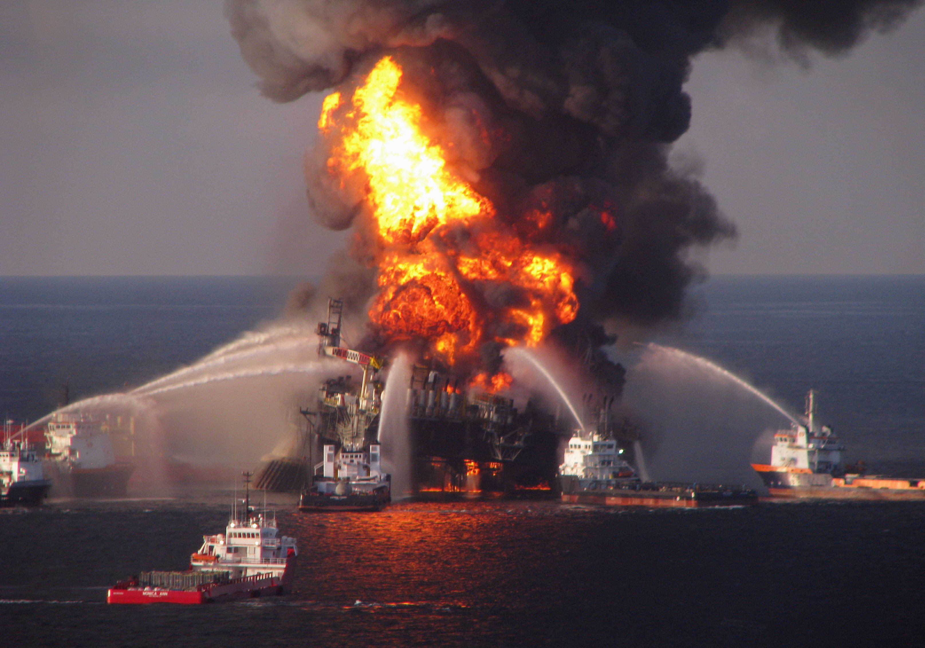 Fire boats spray water on the burning BP Deepwater Horizon offshore oil rig on April 21, 2010, in this photo provided by the