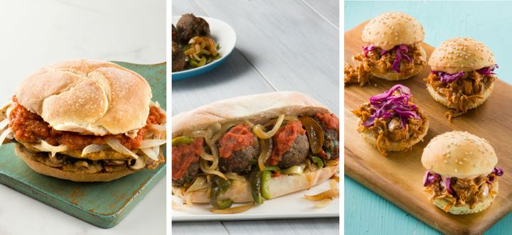 Three items from the YamChops cookbook (left to right): chicken sandwich, meatball sandwich and pulled pork sliders.