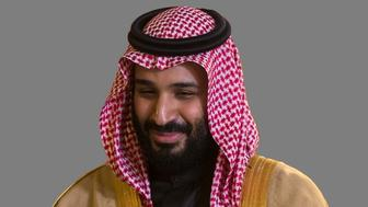 Mohammed bin Salman, Saudi Arabia Crown Prince, graphic element on gray