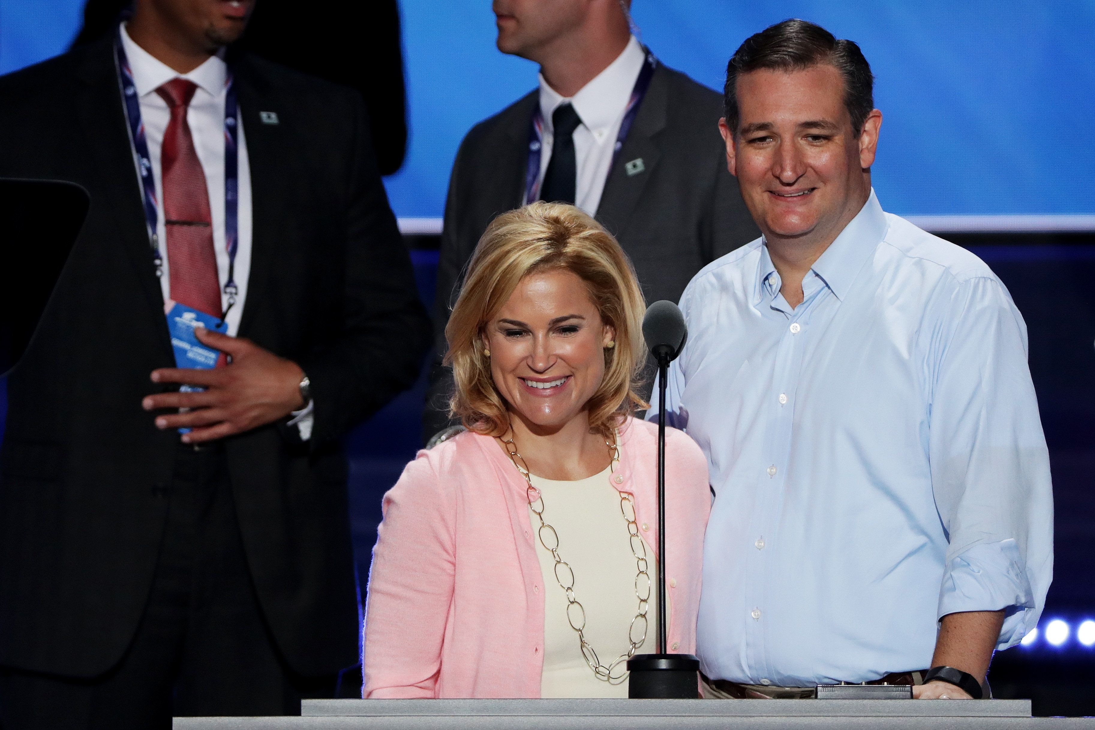 CLEVELAND, OH - JULY 20:  Sen. Ted Cruz (R-TX) (R) along with his wife Heidi Cruz (C) stand on stage prior to the start  on the third day of the Republican National Convention on July 20, 2016 at the Quicken Loans Arena in Cleveland, Ohio. Republican presidential candidate Donald Trump received the number of votes needed to secure the party's nomination. An estimated 50,000 people are expected in Cleveland, including hundreds of protesters and members of the media. The four-day Republican National Convention kicked off on July 18. (Photo by Alex Wong/Getty Images)