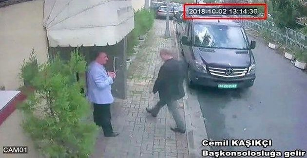 CCTV showing Khashoggi entering the Saudi consulate in Istanbul. There is no footage of him