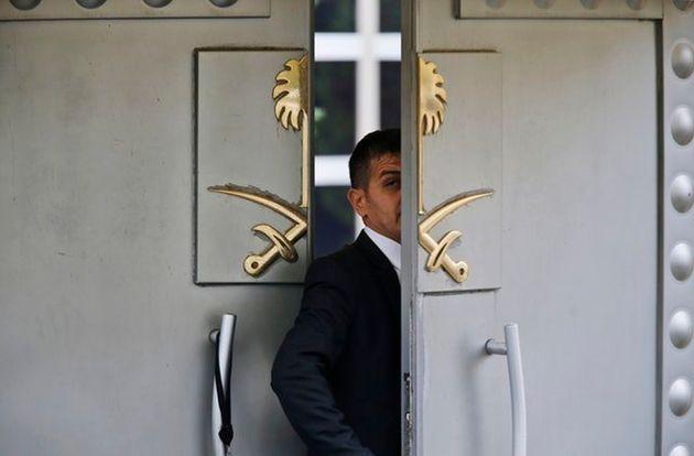 A security guard at the Saudi Arabia consulate in