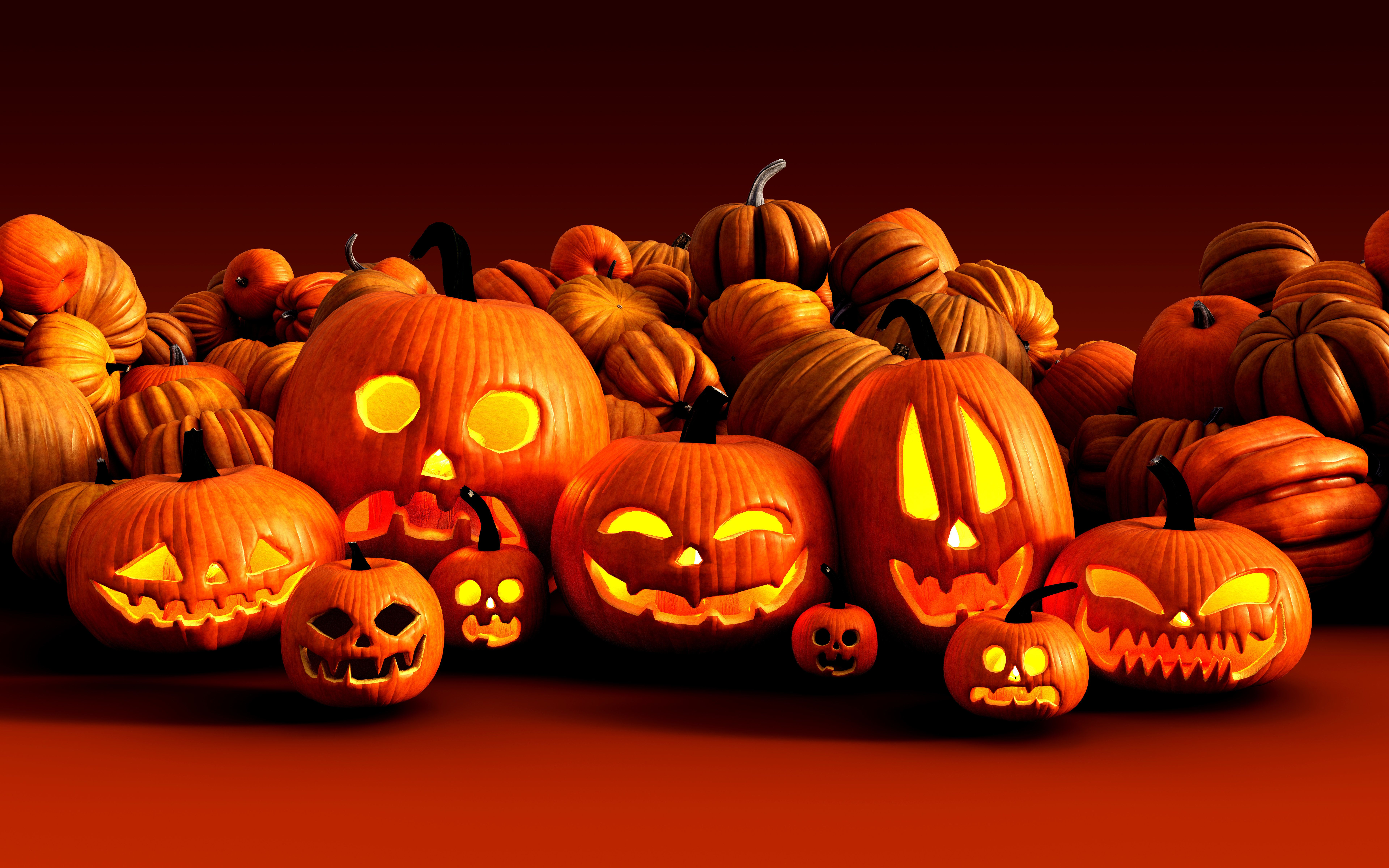 3d Illustration Scary Jack O Lantern Halloween Pumpkins on Farmer's Market