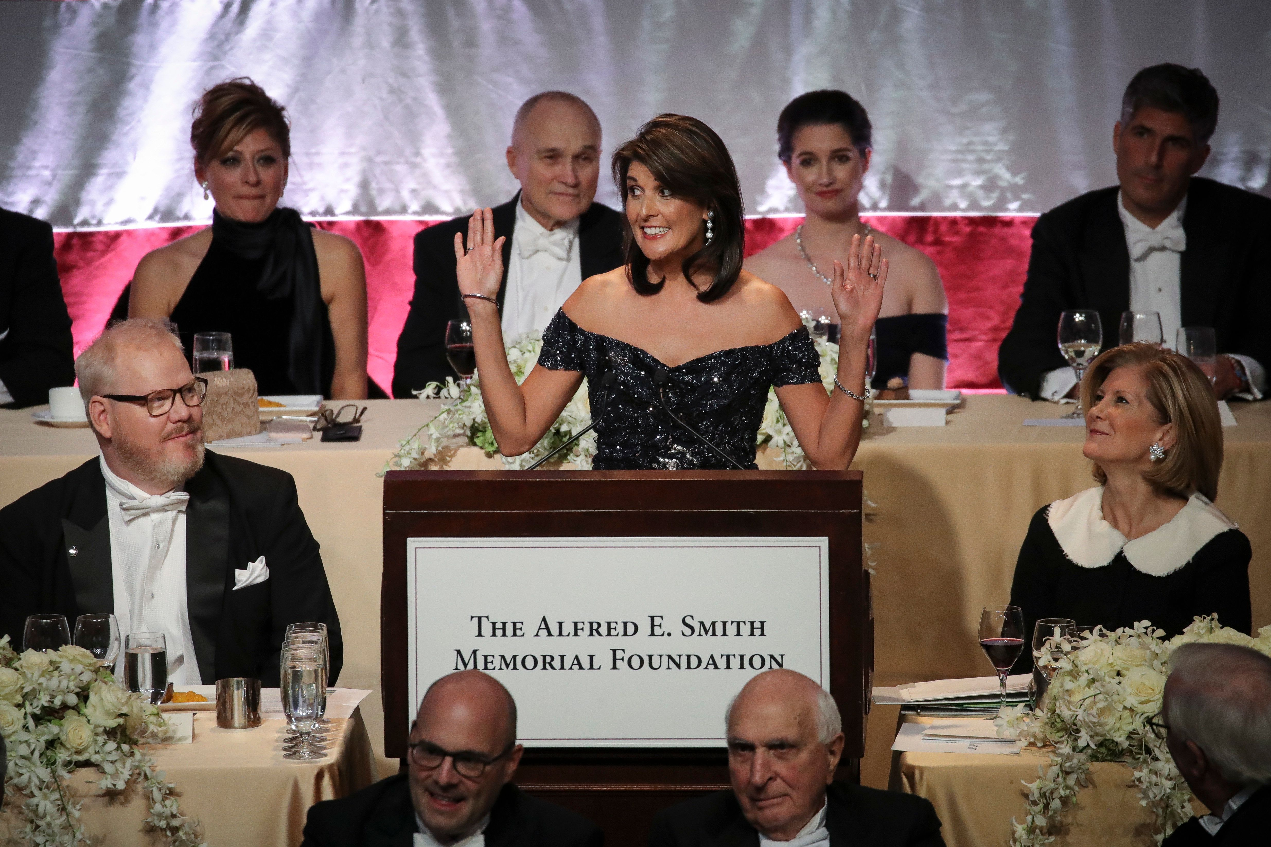 NEW YORK, NY - OCTOBER 18: U.S. Ambassador to the United Nations Nikki Haley delivers the keynote speech during the annual Alfred E. Smith Memorial Foundation dinner, October 18, 2018 in New York City. The annual white-tie dinner raises money for Catholic charities. The foundation honors the late Alfred E. Smith, former governor of New York and America's first Catholic presidential nominee. (Photo by Drew Angerer/Getty Images)