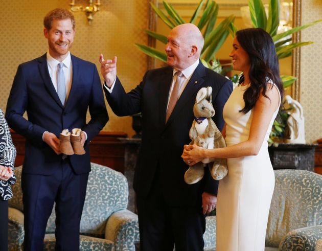 Australia's Governor General Peter Cosgrove gives the Duke and Duchess of Sussex a toy kangaroo,...
