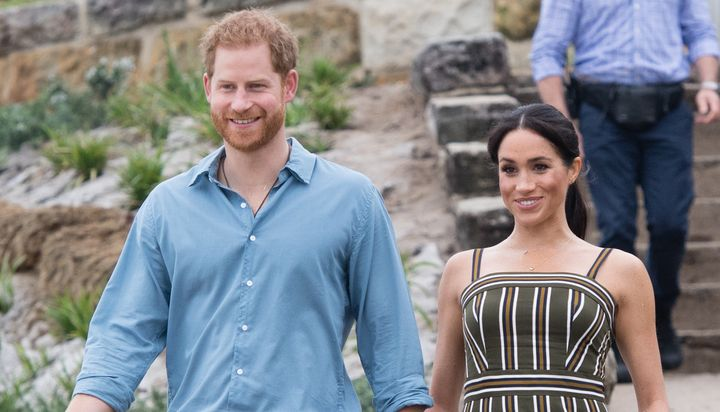Harry and Meghan visit Bondi Beach on Oct. 19, 2018 in Sydney, Australia.