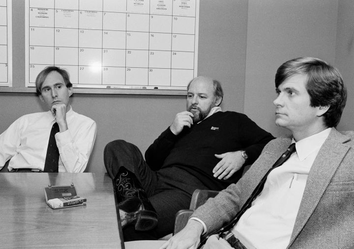 President Ronald Reagan's campaign operatives Roger Stone, left, Ed Rollins and Lee Atwater, right, discuss strategy in Novem