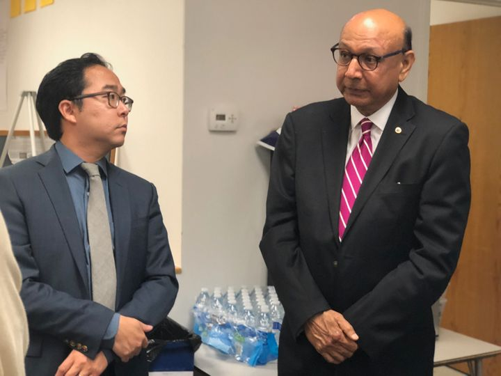 Kim and Khizr Khan speak with veterans at an event at Kim's Mount Laurel campaign office.