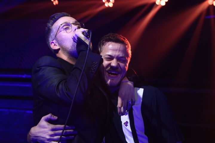 """Tranter (left) took the stage with Imagine Dragons singer Dan Reynolds on Wednesday. The two collaborated on the 2017 hit """"Be"""