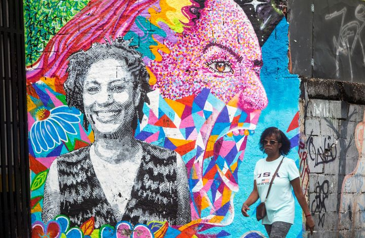 A mural depicting slain councilwoman Marielle Franco.