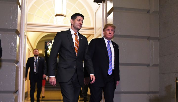 Speaker of the House Paul Ryan (R-Wis.) with President Donald Trump before a June 19 meeting on Capitol Hill. Despite Ryan's