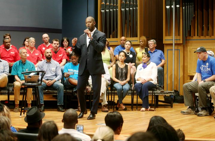 Gubernatorial candidate Andrew Gillum at a town hall Friday at St. Petersburg College in St. Petersburg, Florida.