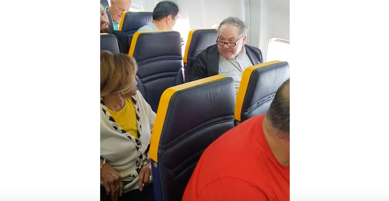 Outrage after shocking footage shows elderly passenger racially abused on Ryanair flight