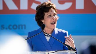 UNITED STATES - OCTOBER 20: Democratic candidate for Senate Rep. Jacky Rosen, D-Nev., speaks at the Nevada Democrats' early vote rally, which featured former Vice President Joe Biden, at the Culinary Workers Union Local 226 in Las Vegas on Saturday, Oct. 20, 2018, the first day of early voting in Nevada. (Photo By Bill Clark/CQ Roll Call)