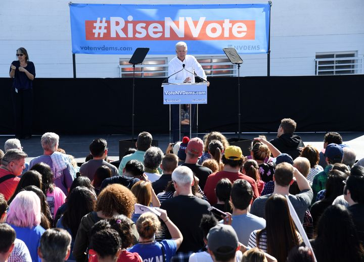 Former Vice President Joe Biden rallies Democrats at an early vote rally in Las Vegas.