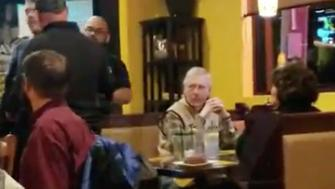 Doner confronts Kentucky GOP Sen. Mitch McConnell at a Louisville restaurant.