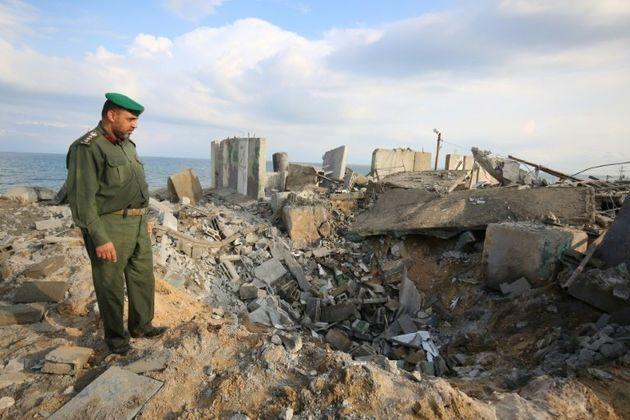 Les dégâts provoqués par un raid aérien israélien, le 17 octobre 2018...