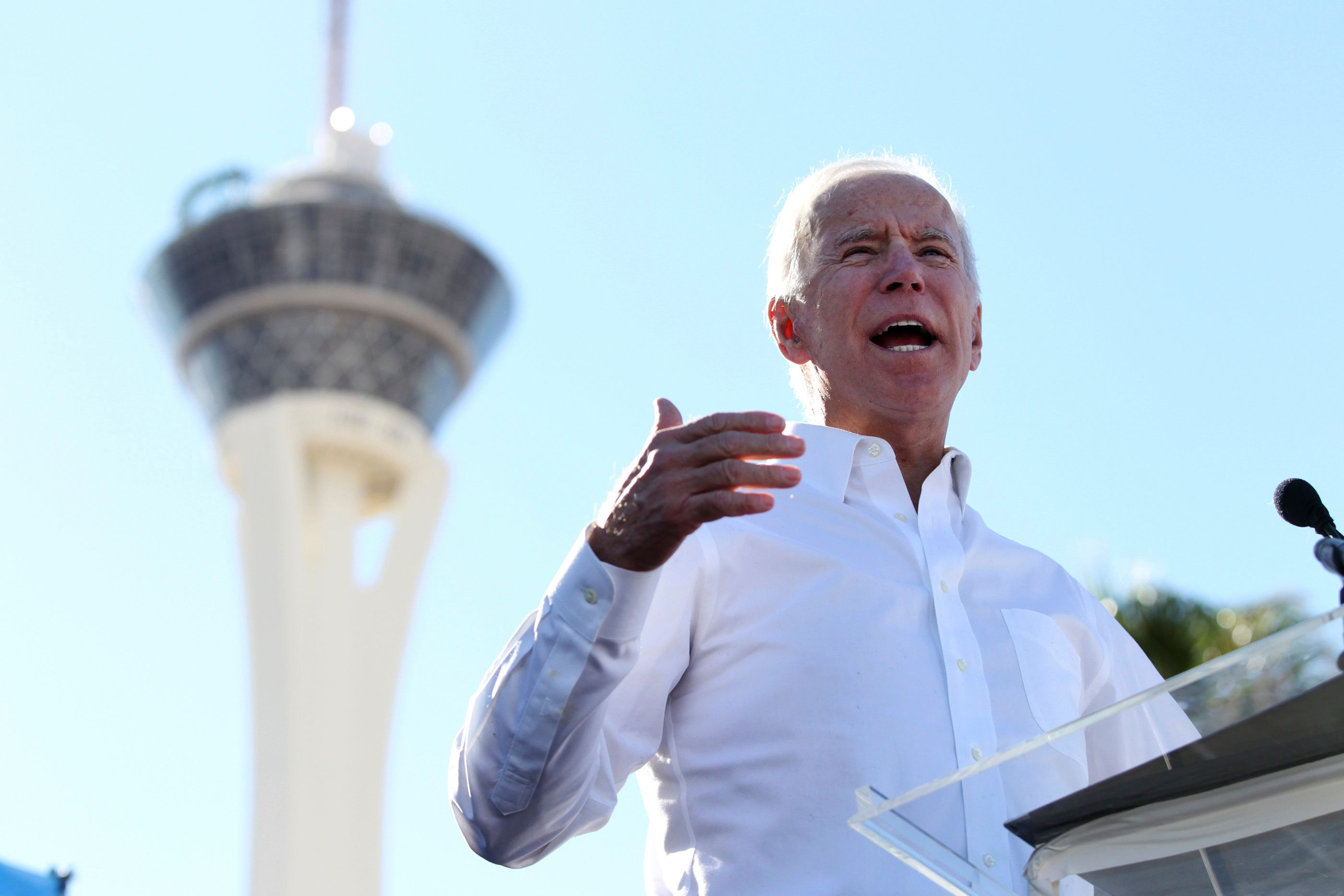 Former Vice President Joe Biden speaks to a crowd during a Nevada State Democratic Party rally to promote voting at the Culinary Workers Union Local 226 headquarters in Las Vegas, Saturday, Oct. 20, 2018. (Erik Verduzco/Las Vegas Review-Journal via AP)