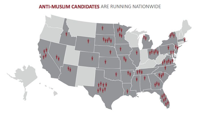 The states with the most anti-Muslim candidates were Texas with eight, followed by Virginia and Florida with six apiece.