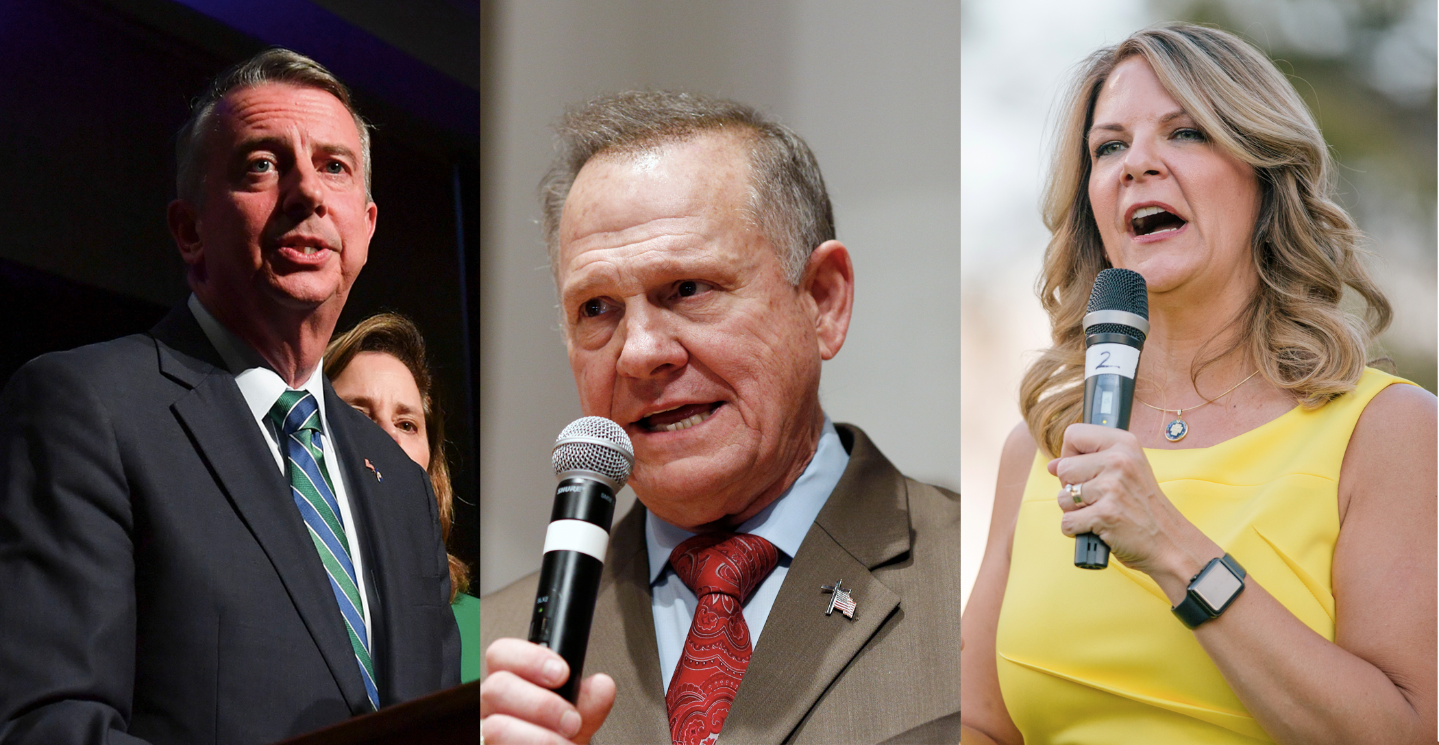 From left, former candidates Ed Gillespie, Roy Moore and Kelli Ward all ran anti-Muslim campaigns — and lost.