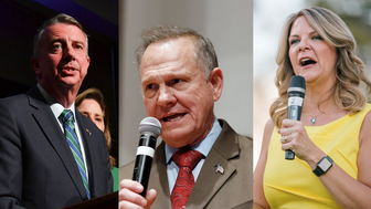 (from left to right) Ed Gillespie, Roy Moore, Kelli Ward.