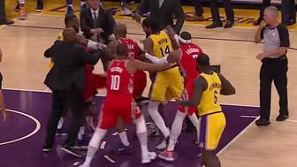 The L.A. Lakers and Houston Rockets got into a brawl during LeBron James' first home game as a Laker.