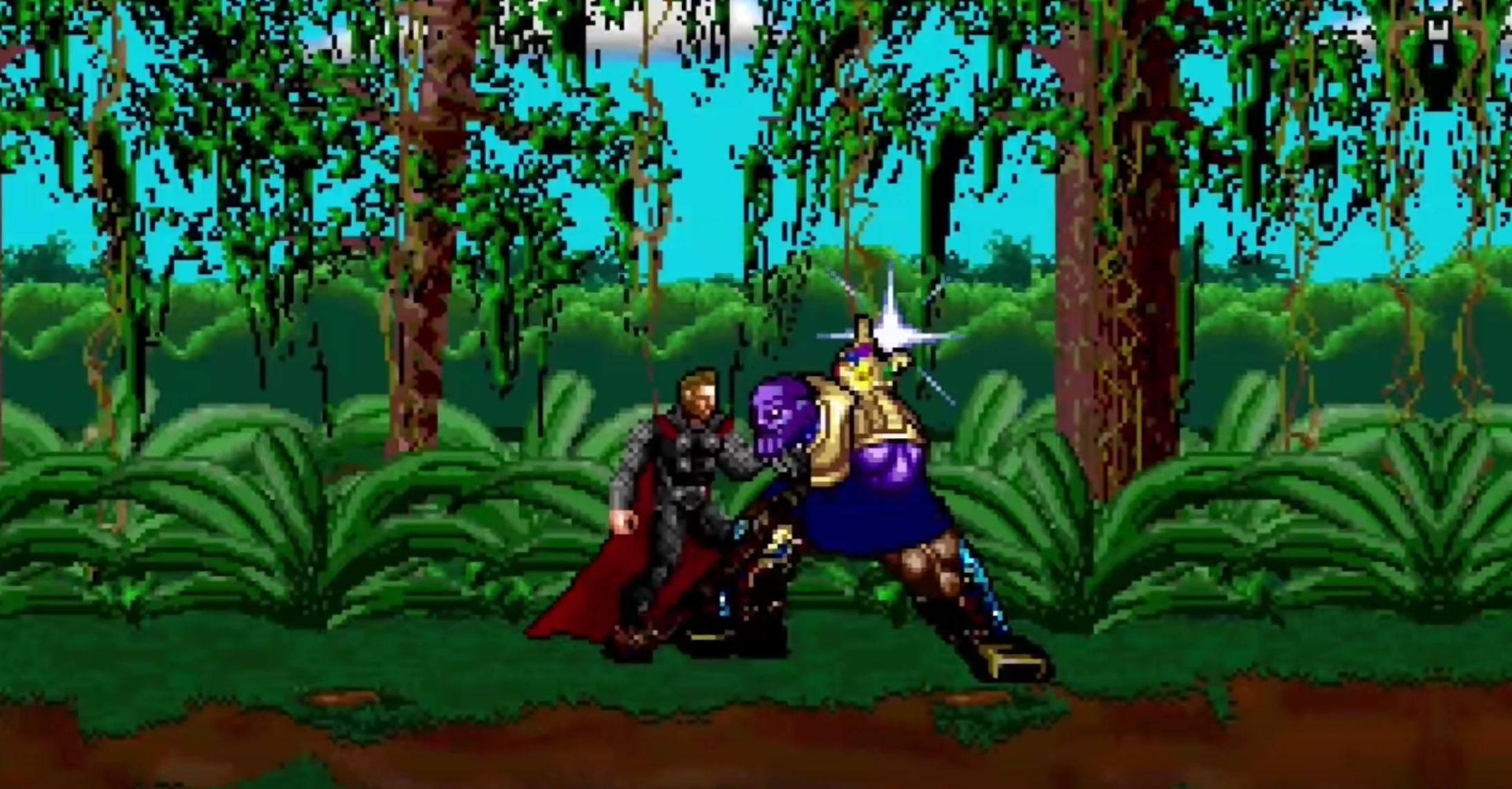 "The final fight with Thanos from ""Avengers: Infinity War"" recreated in 16-bit."