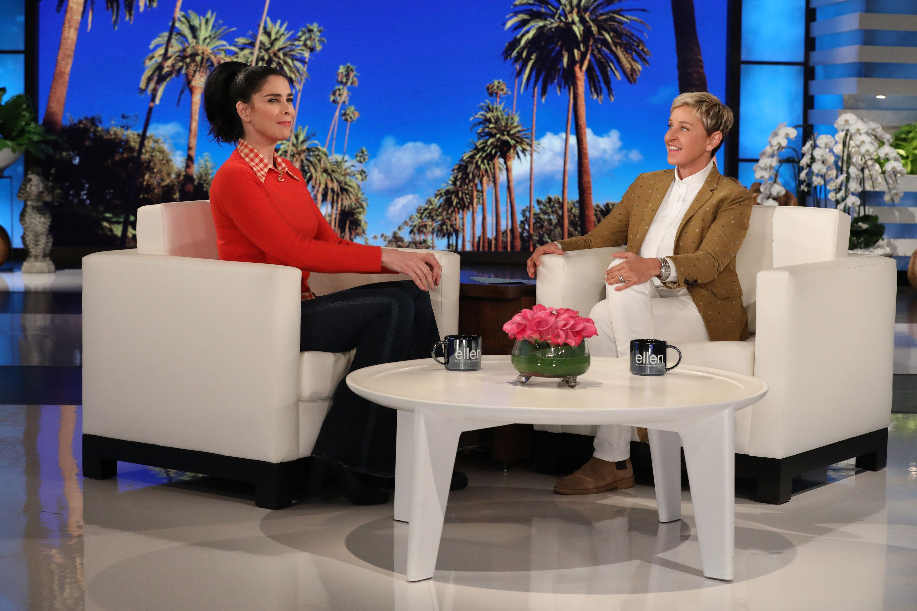 """In this photo released by Warner Bros., talk show host Ellen DeGeneres is seen during a taping of """"The Ellen DeGeneres Show"""" at the Warner Bros. lot in Burbank, Calif. (Photo by Michael Rozman/Warner Bros.)"""
