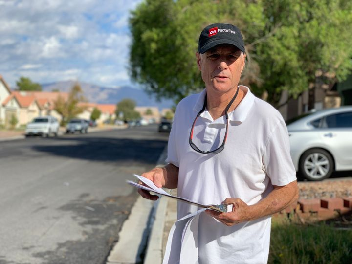 Democrat Gary Witt canvasses a Las Vegas suburb urging people to vote ahead of the November midterm election.