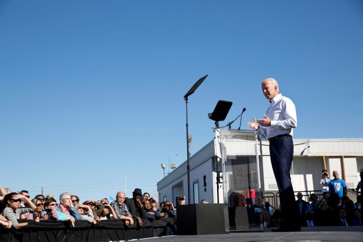 Former Vice President Joe Biden rallied Democrats in Las Vegas on Saturday.