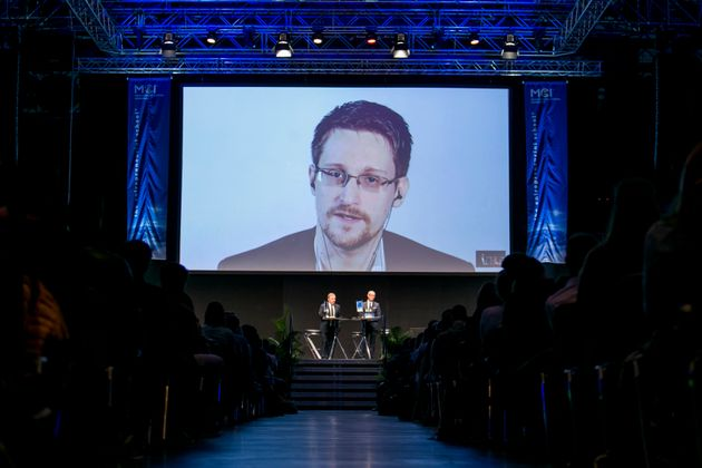 Edward Snowden speaks via video link at an event in Innsbruck, Austria, organized by the Management Center...
