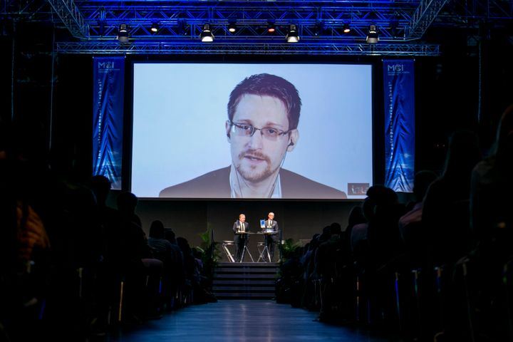Edward Snowden speaks via video link at an event in Innsbruck, Austria, organized by the Management Center Innsbruck, a priva