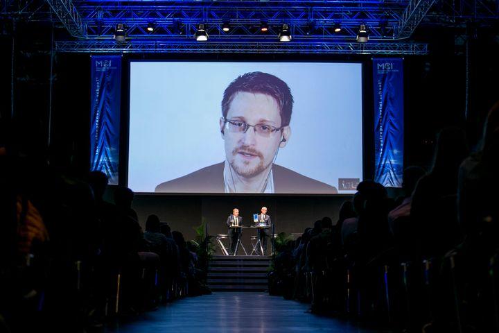 Edward Snowden speaks via video link at an event in Innsbruck, Austria, organized by the Management Center Innsbruck, a priva