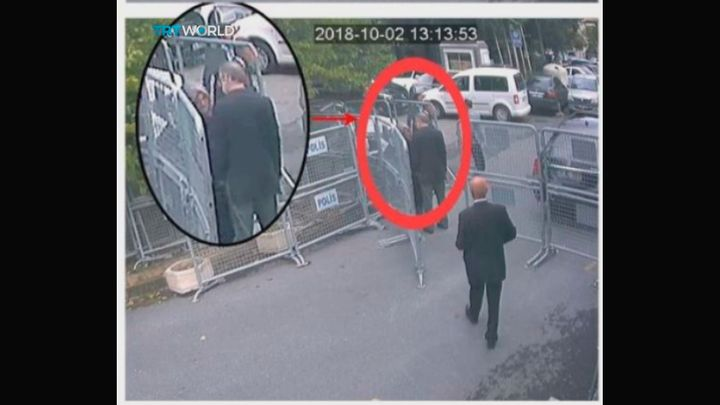 This image taken from CCTV video obtained by the Turkish broadcaster TRT World shows Saudi journalist Jamal Khashoggi talking