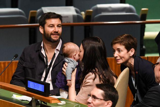Jacinda Ardern, Prime Minister of New Zealand, kisses her daughter Neve Te Aroha Ardern Gayford, as her...