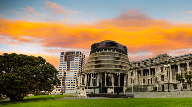 New Zealand's parliament buildings, the Beehive, in