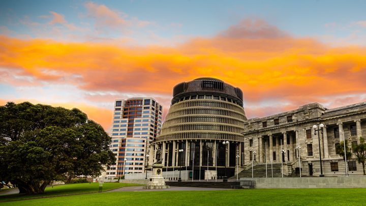 New Zealand's parliament buildings, the Beehive, in Wellington.