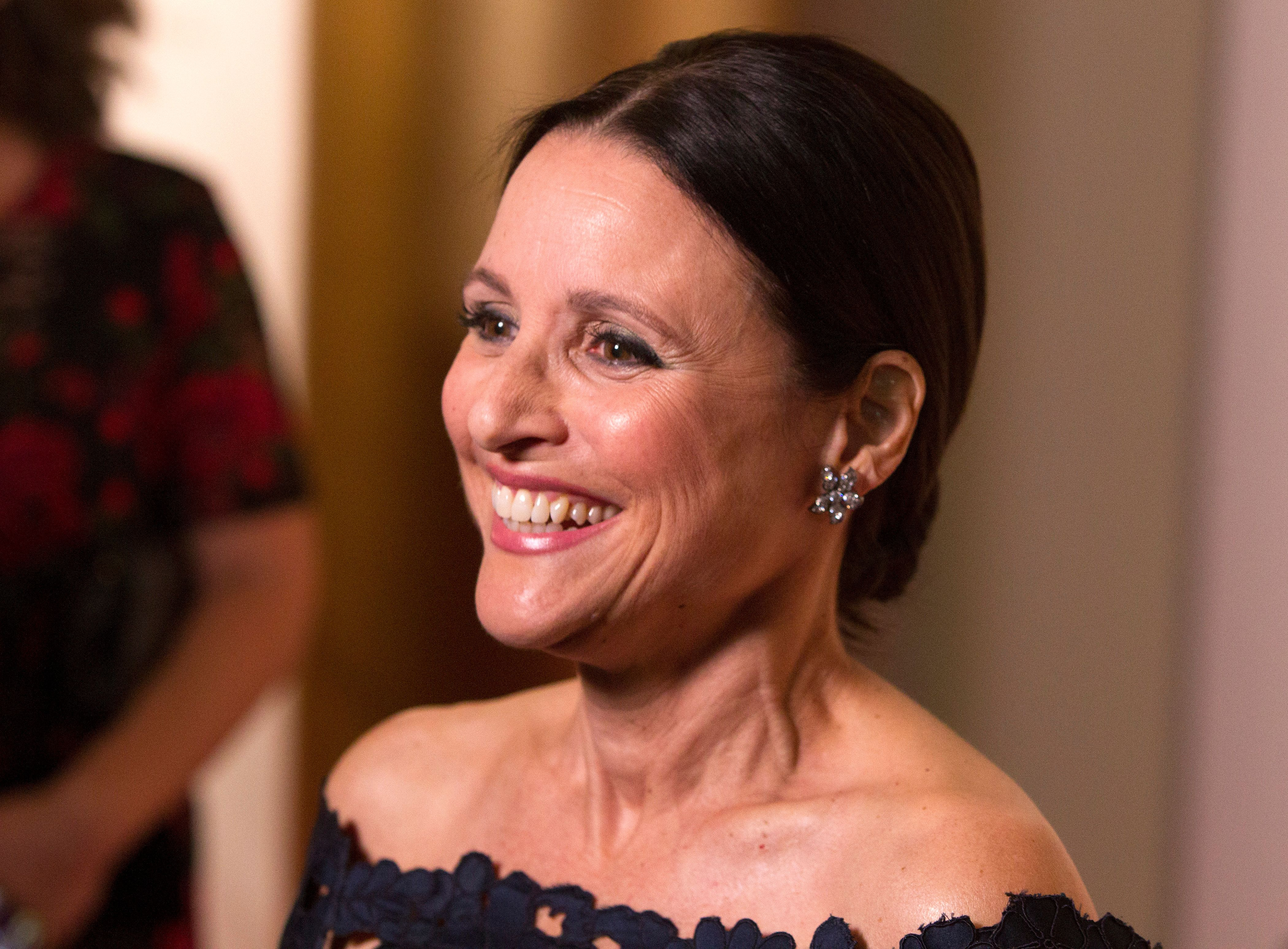 Julia Louis-Dreyfus arrives at the Kennedy Center for the Performing Arts for the 21st Annual Mark Twain Prize for American Humor presented to Julia Louis-Dreyfus on Sunday, Oct. 21, 2018, in Washington, D.C. (Photo by Owen Sweeney/Invision/AP)
