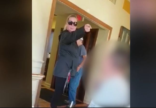 A woman was filmed berating a family for speaking Spanish inside of a Virginia restaurant on Friday.