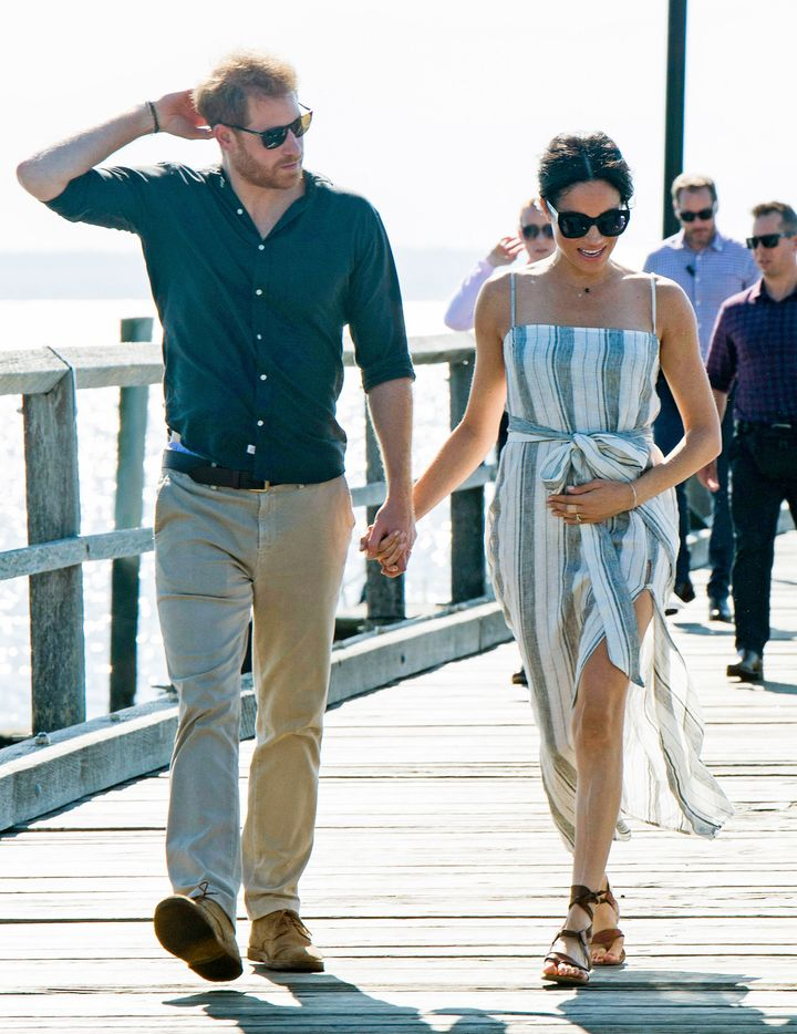 The Duke and Duchess of Sussex visit Kingfisher Bay Resort on October 22, 2018 in Fraser Island, Australia.