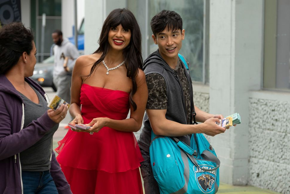 "Jameela Jamil and Manny Jacinto in ""The Good Place."""