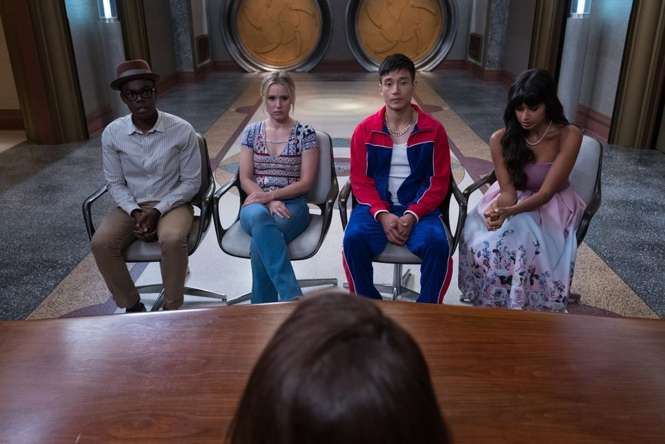 "William Jackson-Harper, Kristen Bell, Manny Jacinto and Jameela Jamil on ""The Good Place."""