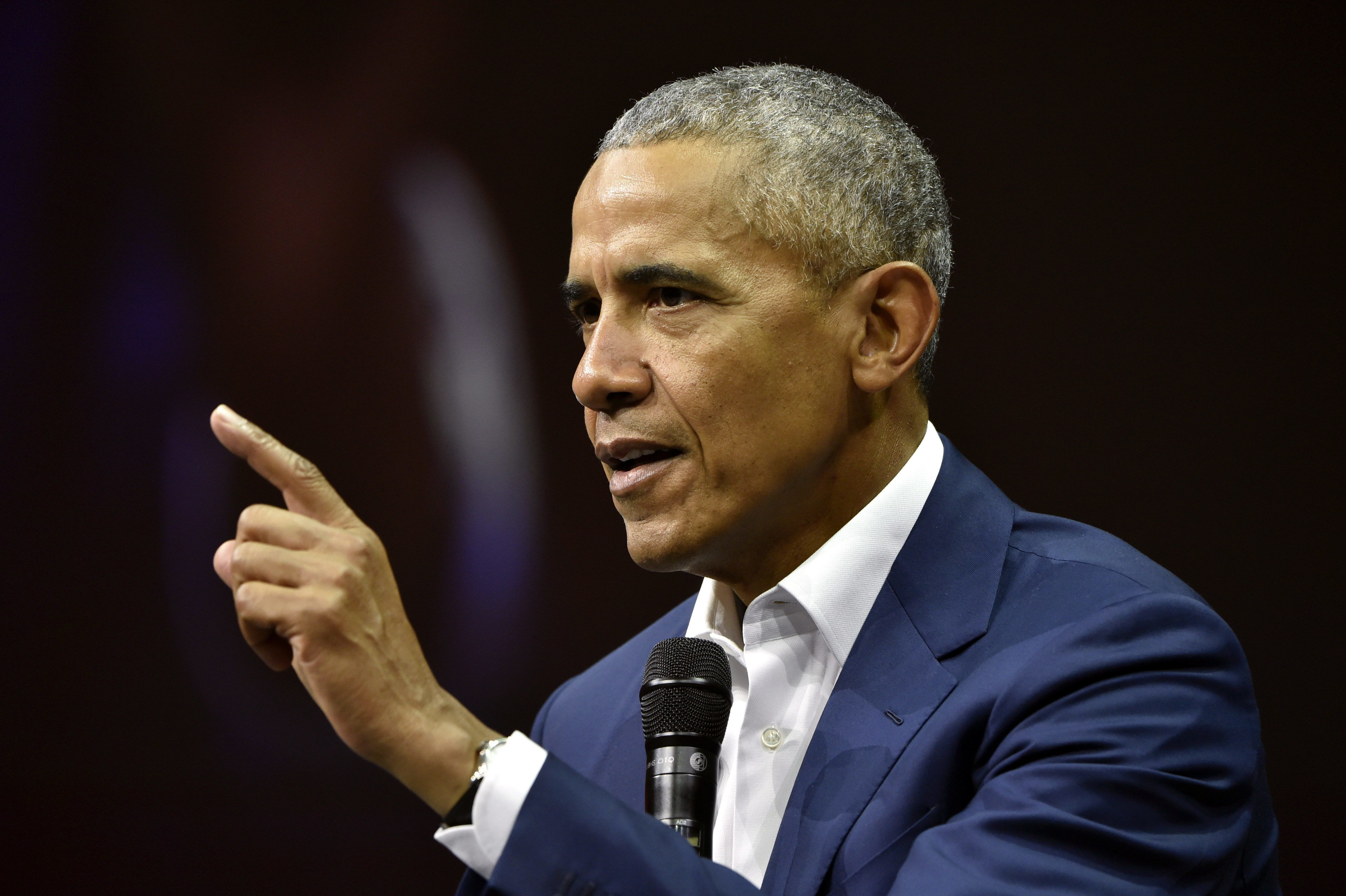 Former President of the United States, Barack Obama, addresses the Nordic Business Forum business seminar in Helsinki, Finland on September 27, 2018. (Photo by Jussi Nukari / Lehtikuva / AFP) / Finland OUT        (Photo credit should read JUSSI NUKARI/AFP/Getty Images)