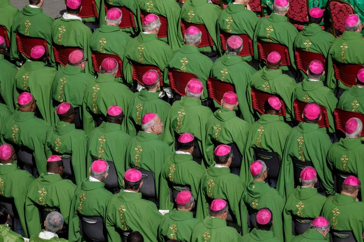Bishops attend a mass for the opening of the Synod of Bishops, focusing on Young People, the Faith and Vocational Discernment in St. Peter's Square in Vatican City, Vatican on October 03, 2018.