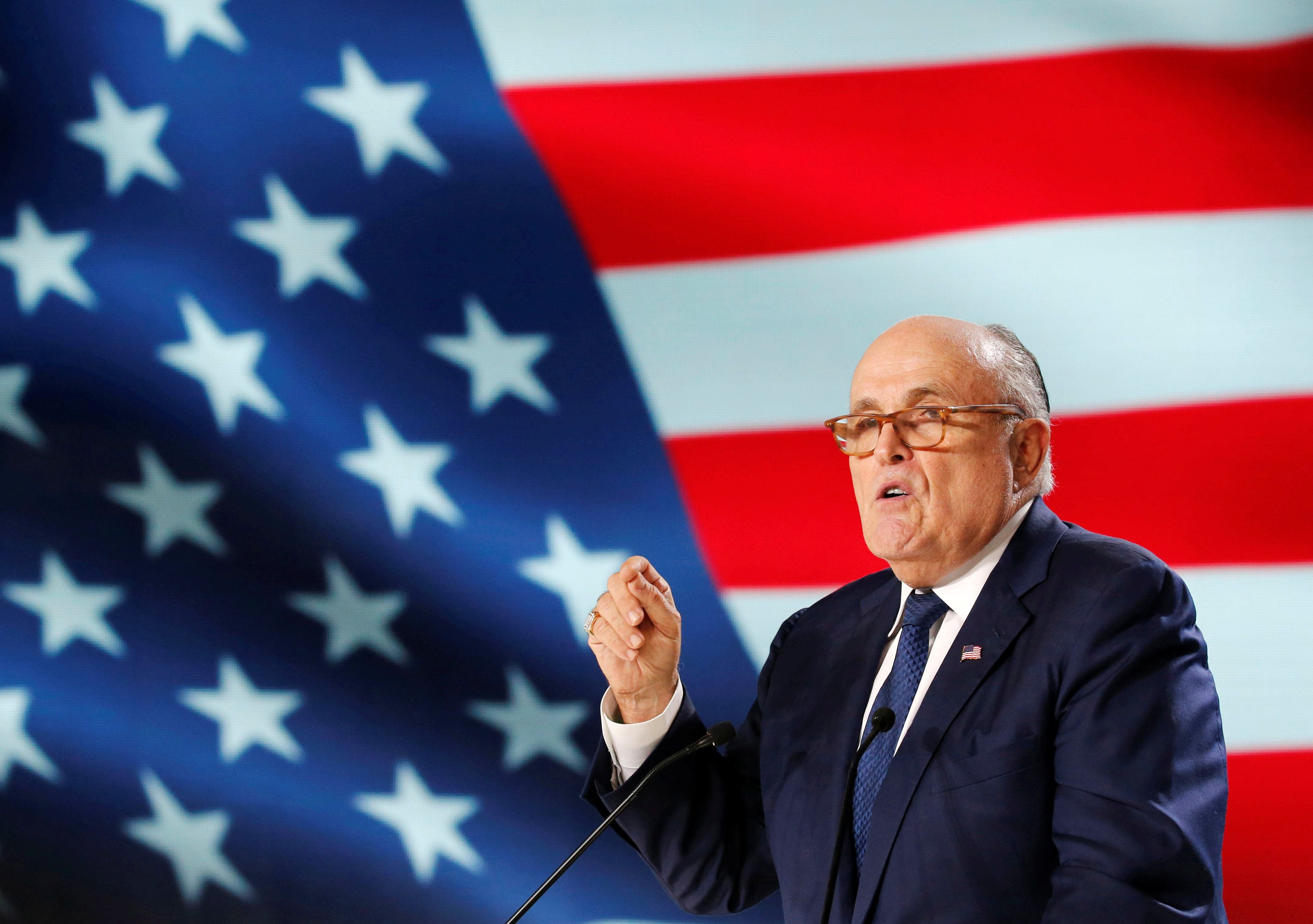 Rudy Giuliani, former Mayor of New York City, delivers his speech as he attends the National Council of Resistance of Iran (NCRI), meeting in Villepinte, near Paris, France, June 30, 2018.  REUTERS/Regis Duvignau
