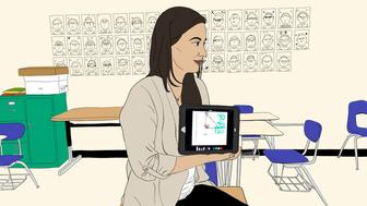 A photo illustration of Kimberly Bloom teaching using her tablet.