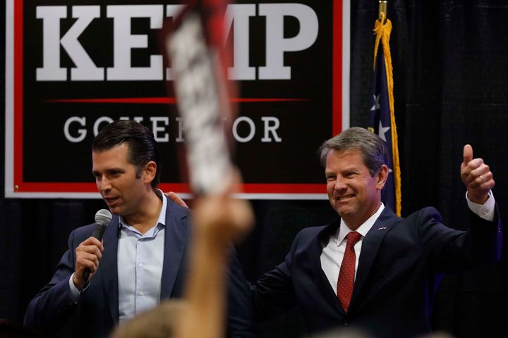 Donald Trump Jr. (left) at a rally for Republican gubernatorial nominee Brian Kemp, in Athens, Georgia, Oct. 9. Currently Geo