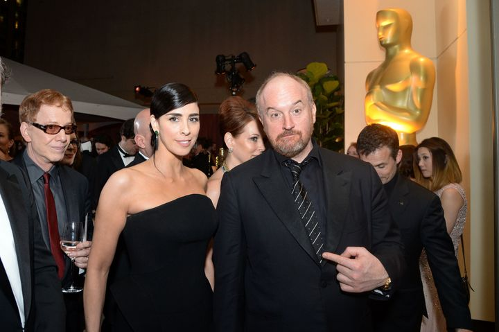 Sarah Silverman and Louis C.K. at the Oscars in 2016. Silverman said Louis C.K. used to masturbate in front of her when